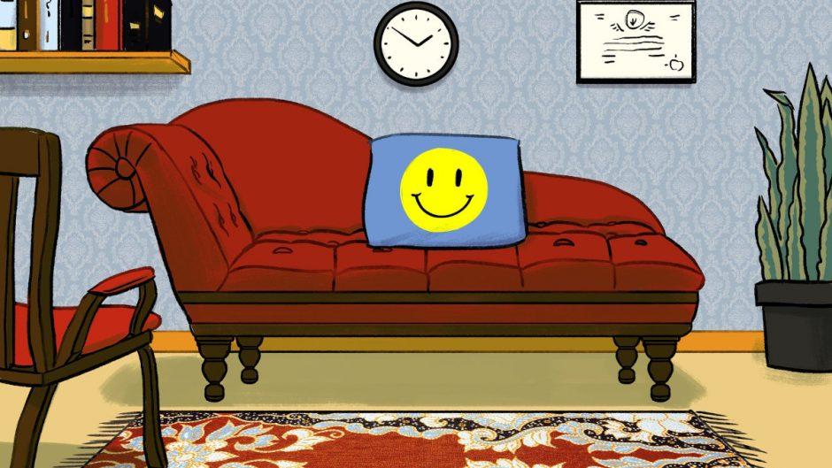 Кушетка для психоанализа и часы.